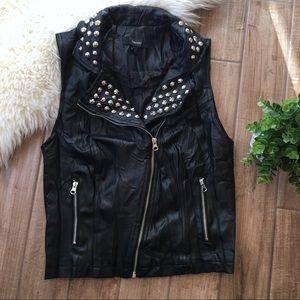 Forever 21 black studded faux leather biker vest M